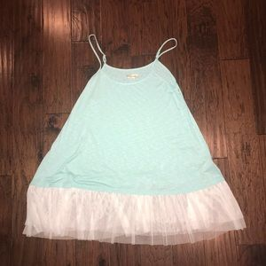 Tops - Teal camisole with tulle bottom